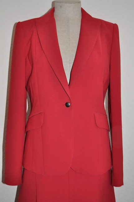 Calvin Klein CALVIN KLEIN Red Classic Skirt & Jacket Suit