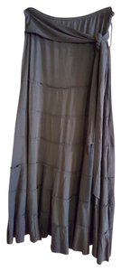 Studio 1940 Boho Bohe Belted Tiered Maxi Skirt Blue