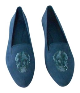Alexander McQueen Skull Accent Soft/Supple Comfortable Made In Italy Blue Flats