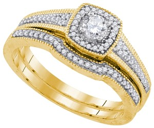 Luxury Designer 14k Yellow Gold 0.46 Cttw Diamond Engagement Ring Bridal Set