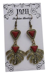 Red Feather Fashion Earrings w Free Shipping