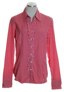 Lilly Pulitzer Ruffle Long Sleeve Woven Button Down Shirt Red