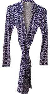 Diane von Furstenberg short dress White, Purple Wrap Silk on Tradesy
