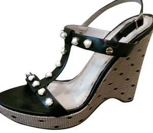 Jason Wu Studded Made In Italy Leather BLACK w/ pearl/rinestone detail Wedges