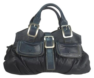 Cole Haan Leather Satchel in Navy Leather