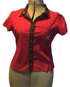 Lip Service Button Down Shirt Red with Black trim