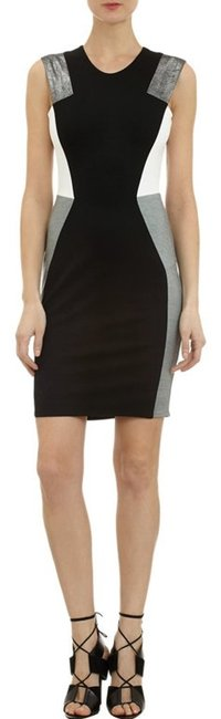 Mason by Michelle Mason Colorblock Black Grey White Nylon Rayon Spandex Sleeveless Classic Lined Dress