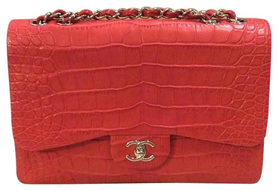 ad82e3b11082 Chanel Classic Jumbo Single Flap Red Alligator Leather Shoulder Bag ...