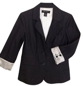 Larry Levine Pinstripe Black Stretch Denim 3/4 Sleeve Blazer