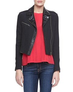 Joie Faux Leather Knit Motorcycle Jacket