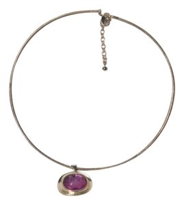 Other Vintage Silver Tone Choker Necklace w/Purple Pendant