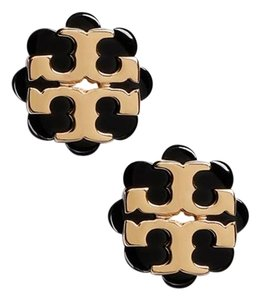 Tory Burch Tory Burch Logo Flower Resin Stud Earring Black/Shiny Gold