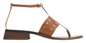 Zara Studded Leather Ankle Strap Summer Brown Sandals
