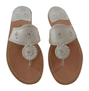 Jack Rogers Whipstitch Detail White Sandals