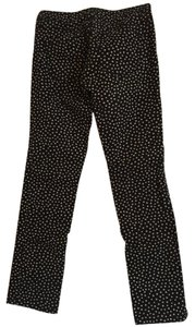 Ann Taylor LOFT Straight Pants Black with cream polka dots