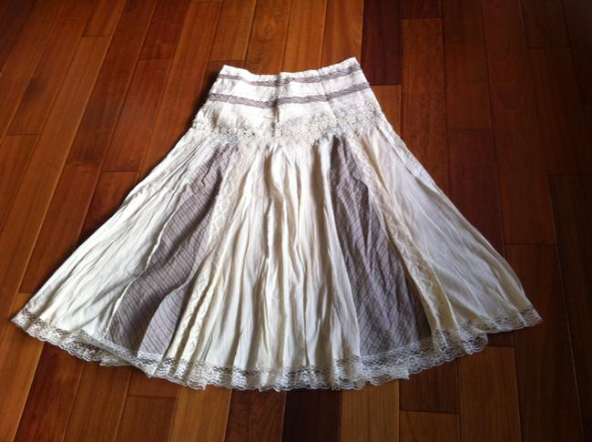 Du Jour Lace Trim Skirt Ivory with tan accents