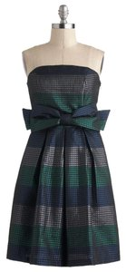 Modcloth Strapless Metallic Stripes Bow Dress