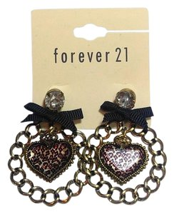 Forever 21 Forever 21 Black & Pink Leopard Print Heart Dangle Earrings J2710