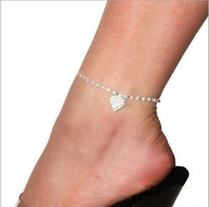 All Rhinestones Heart Dangle Charm Anklet Foot And Ankle Bracelet Bridal Wedding Ankle Foot Jewelry Destination Wedding