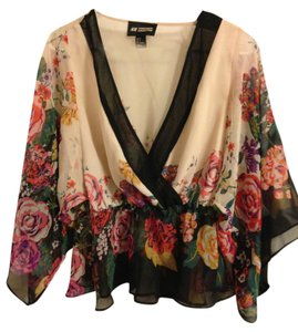 c3aa4c412ea145 H M Beige  Floral Conscious Collection Blouse Size 6 (S) - Tradesy