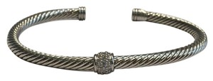 David Yurman David Yurman 4mm Diamond Single Station Sterling Silver Classic Cable Cuff