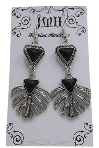 Fashion Earrings Black Stones in Silvertone w Free Shipping