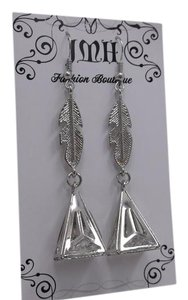 Other Aztec Coutoure Triangle w Crystals feather in Silvertone w Free Shipping