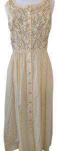 Yellow with Gold Embroidery Maxi Dress by Together Sleeveless Top Front Buttons Side Slit Pockets