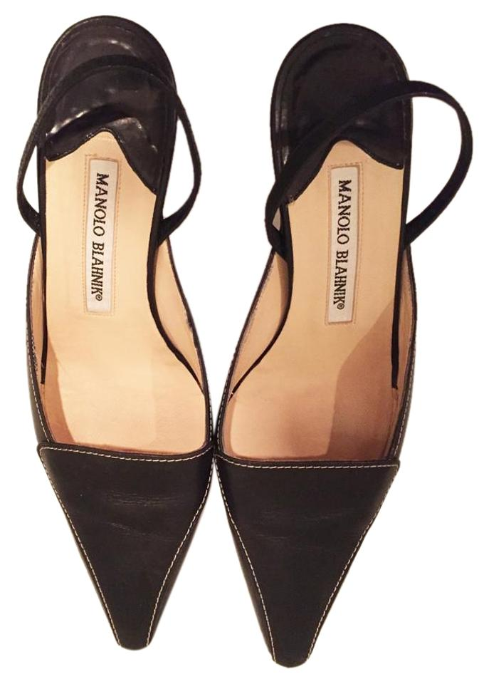 Manolo Blahnik Black Leather Sling Sling Leather Pumps 6e28a7