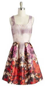 Modcloth Sequin Floral Party Metallic Dress