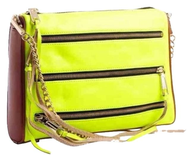 Item - Clutch 5 Yellow and Almond Leather Cross Body Bag