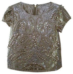 Miss Selfridge Pearl Beaded Top Champagne