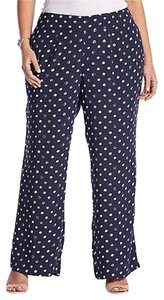 Lucky Brand Polka Dot Crepe Rayon Navy Relaxed Pants