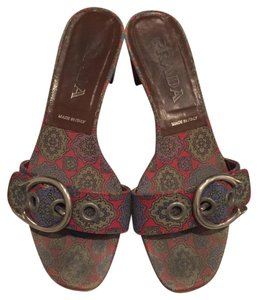 Prada Paisley Print Canvas Sandals
