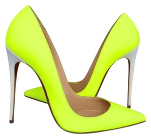 Christian Louboutin Bicolor Neon Leather Patent Yellow Pumps