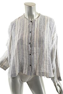 Eskandar Pinstripe Linen Top Tan black & white