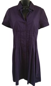 Theory short dress Purple Button-down Above Knee Pintucks Short Sleeves on Tradesy