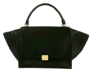 Céline Leather Tote Satchel in Black