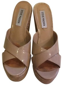 Steve Madden Jimmy Choo Knock Off Summer Vacation Neutral Sexy Espadrille Mules Nude/neutral/tan Wedges