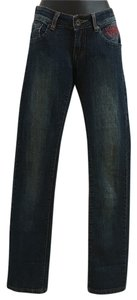 Ed Hardy Denim Low-rise Embroidered Skull And Heart Straight Leg Jeans-Distressed