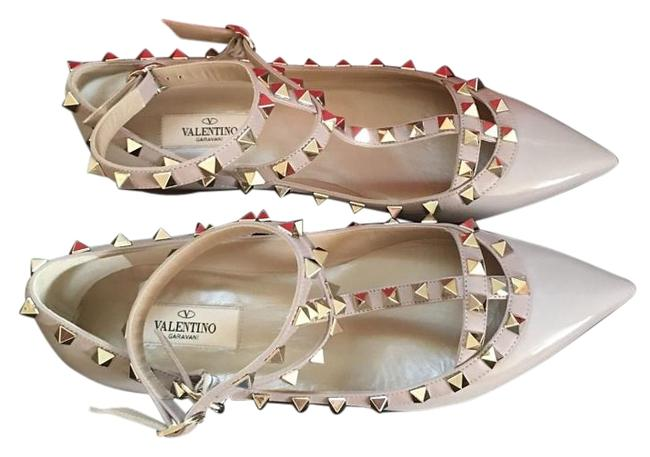 Item - Blush Nude Rockstud Patent Leather Cage Flats Ballet Pumps Size US 7 Regular (M, B)