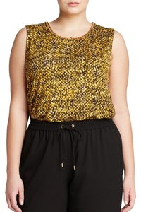 Michael Kors Top MICHAEL Michael Kors Plus Banfora Chain Neck Snake Print Top