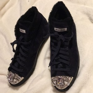 Miu Miu Embellished Suede High-top Sneakers Black Navy Flats