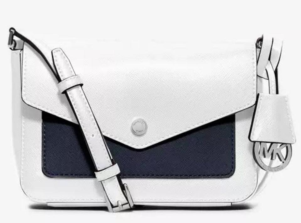 c3b94f56fe6eb7 Michael Kors White Navy Silver Tone Greenwich Flap Small Leather Crossbody  Wallet