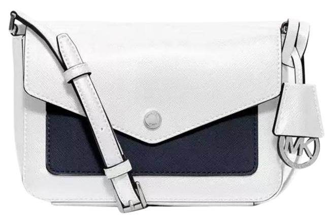 Item - Messenger Greenwich Flap Small Wallet White Navy Pocket Silver Leather Cross Body Bag