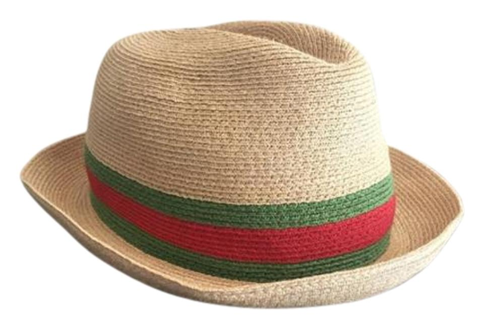 9bd72c27 Gucci Gucci Red and Green Straw Fedora Hat Image 0 ...
