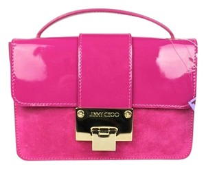 Jimmy Choo Suede Patent Satchel in fuchsia