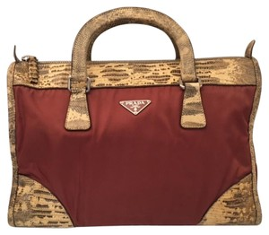 Prada Red Lizard Nylon Satchel in Burgundy