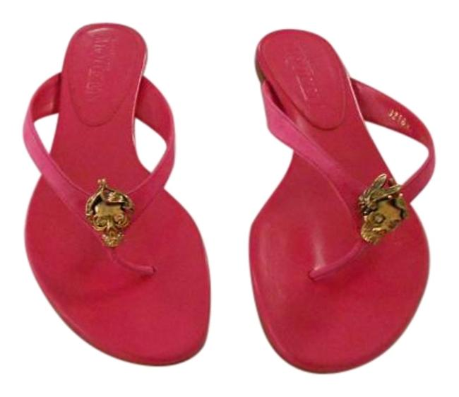 Item - Pink Swarovski Crystal Accented Skull Suede Thongs Sandals Size EU 39 (Approx. US 9) Wide (C, D)