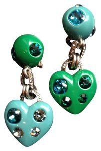 Lanvin Lanvin heart earrings in green and turquoise with Swarovski crystals - clip
